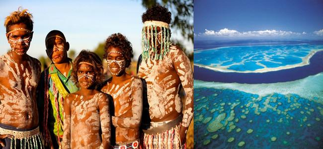 """De gauche à droite : """" En courant, je vais aussi à la rencontre des Aborigènes,  le plus vieux peuple du monde."""" @ Eric Cros;     La Grande Barrière de Corail  et Christophe Vissant : """" je suis consterné de voir qu'elle est aujourd'hui en grand péril à cause du réchauffement climatique dû aux activités humaines. J'ai aussi envie de courir pour elle. """" @ DR"""