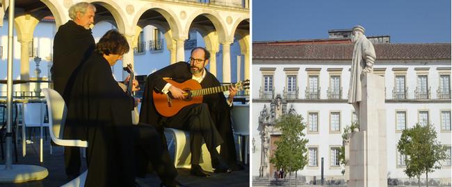 De gauche à droite : Fado de Coimbra. @ OT Portugal;  Hommage au roi Jao 1er sur l'esplanade de l'Université . @ C.Gary