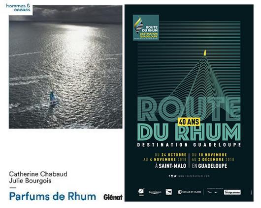 """De gauche à droite couverture du livre  """" Parfums de Rhum""""; affiche des 40 ans de la Route du Rhum. Copyright DR"""
