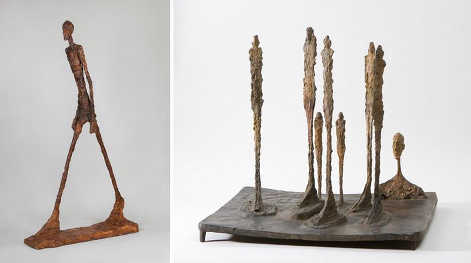 1. - Homme qui marche 1960Copyright Succession Alberto Giacometti ; 2- La Forêt 1950 Copyright Succession Alberto Giacometti.