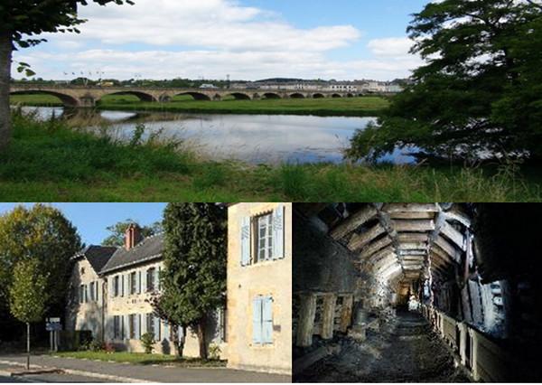 En haut : Decize, la confluence des eaux; En bas : Mine et musée de la mine de La Machine . Copyright OT Decize