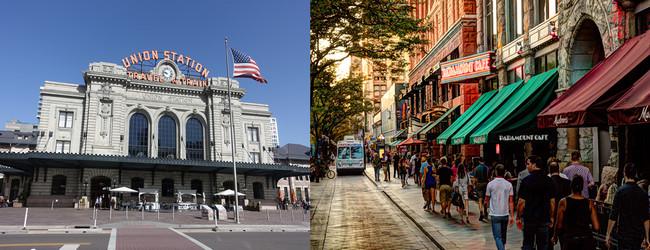 De gauche à droite :  L'Union Station de Denver transformée en salle de spectacles et d'évènements et la célèbre rue 16th Street Mall; Copyright Xavier Bonnet et DR