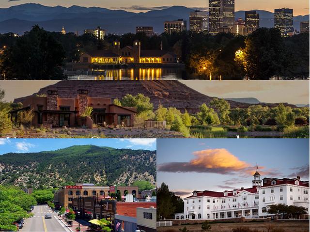 En haut : Vue sur Kimpton Hotel Born (Denver) , Gateway Canyons Resort & Spa (Gateway) .Copyright DR; En bas de gauche à droite : Hotel Denver (Glenwood Springs et Le célèbre Stanley Hotel. Copyright DR