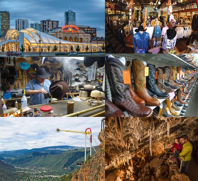 En haut de gauche à droite :  Union Station (Denver);  Rockmount Ranch Wear (Denver); photos 3 et 4 : Rocky Mountains Hatters (Grand Junction); Photos 5 et 6 Glenwood Caverns & Adventure Park . Copyright DR et X.Bonnet