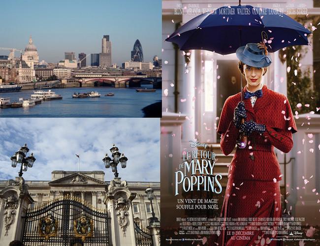 """Londres  © O.T. England et Affiche du film """"le retour de Mary Poppins"""" , sortie 19 décembre.  ©2018 Disney"""