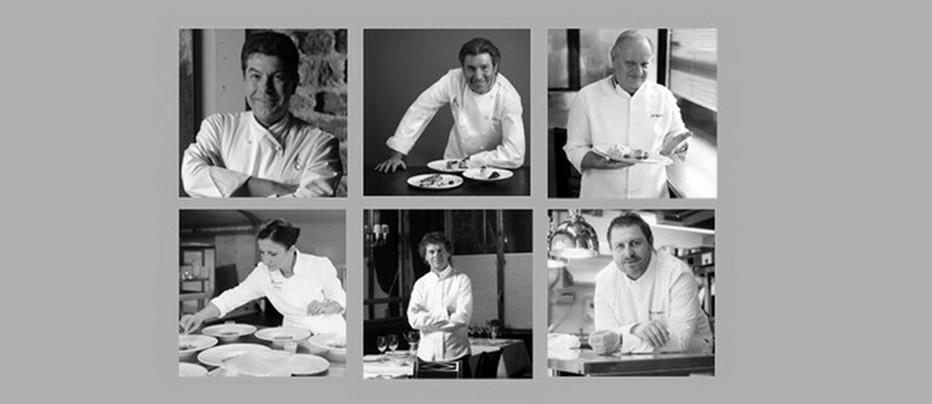 Six chefs au nom prestigieux qui offrent leur talent sur les lignes  d'Air-France . @ DR