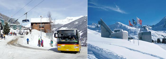 De gauche à droite :  Le car postal est encore en Suisse un moyen de transport, bon marché, habituel et populaire, pour monter jusqu'aux stations. @ DR;  l'Observatoire François-Xavier Bagnoud.@ DR