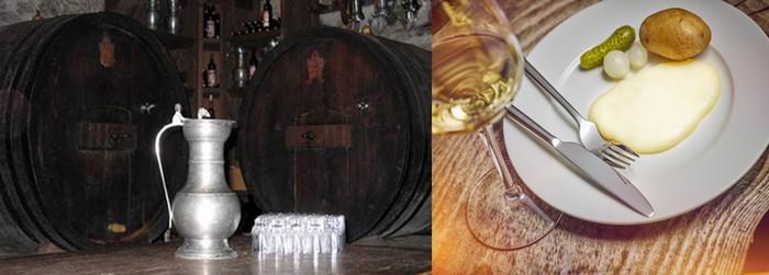 Au Val d'Anniviers l'office de tourisme de Grimentz organise pour les touristes une fois par semaine, en été et en hiver, une visite et une dégustation dans la cave du bâtiment de la « bourgeoisie »@ Grementz/Valais. Ce vin des glaciers accompagne la célèbre raclette AOP . @ Photo de la raclette du restaurateur Eddy Baillifard.
