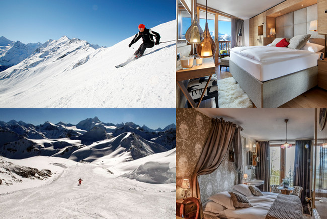Les plaisirs de de la glisse dans le Val d'Anniviers (Valais) et  celui de séjourner dans des hôtels élégants et douillets. @ OT  Suisse/Valais