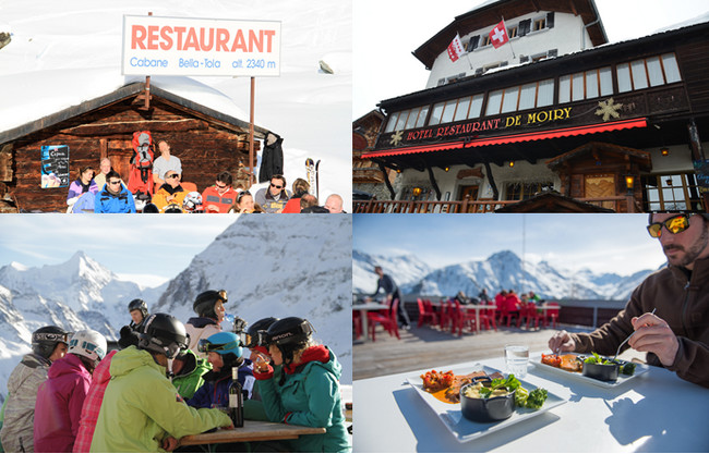Le Valais accueil ses hôtes dans de nombreux restaurants à la cuisine traditionnelle valaisanne qu'on déguste face aux majestueuses montagnes.@ OT Suisse/Valais/David Raynal
