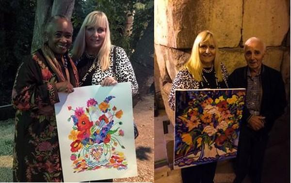 Armelle Andréi reçoit dans sa maison d'hôtes et atelier de nombreuses personnalités, parmi elles Barbara Hendrickx et Charles Aznavour  .@ DR