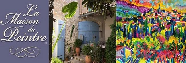 """Armelle Andréi partage avec ses hôtes sa belle Provence et son talent de peintre :  Sa toile intitulée le """" Village de Mallemort"""". @ DR"""