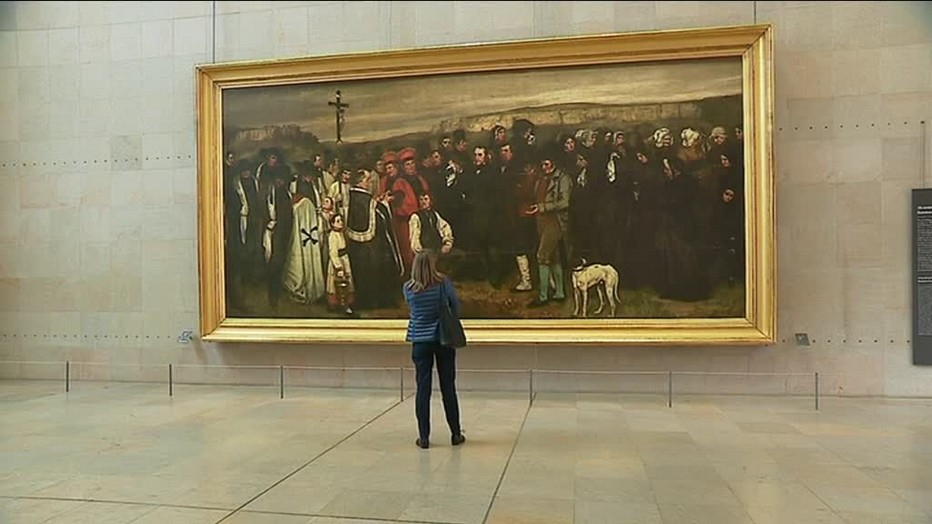 """Exposition du célèbre tableau de Gustave Courbet """"Enterrement à Ornans."""". @D.Martin - Musée des Beaux-Arts à Besançon"""