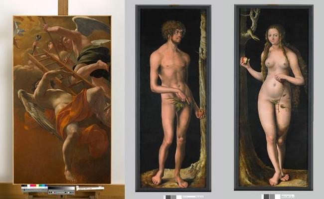 Exposition des toiles au musée des Beaux Arts de Besançon : 1 Simon Vouet ,Musée des Beaux Arts Besançon Adam  et Eve. Lucas Cranach vers 1508. @ DR