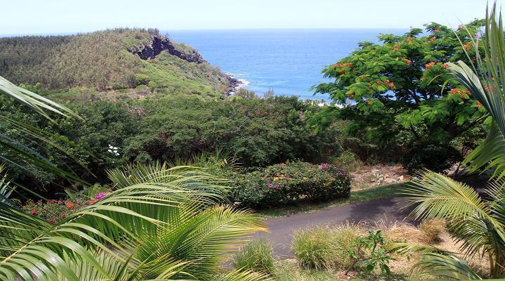 La vue idyllique depuis le Palm Hôtel sur la commune de Petite Ile