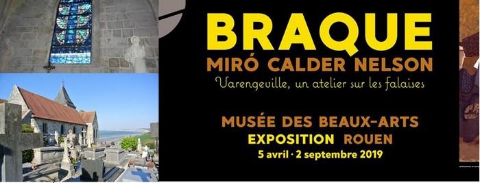 Vitrail réalisé par Georges Braque à l'église Saint-Valéry de Varengeville. L'église veille sur le cimetière marin où se trouve la tombe de G.Braque. @ Wikipédia
