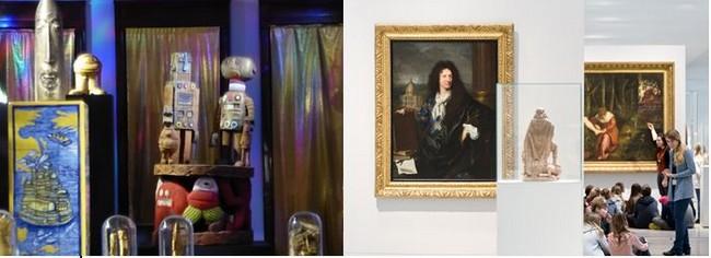 De gauche à droite : Expo Di Rosa à LaBanque . @ C.Gary ; Galerie du temps du Louvre-Lens. @ Louvre-Lens-Fr Iovino