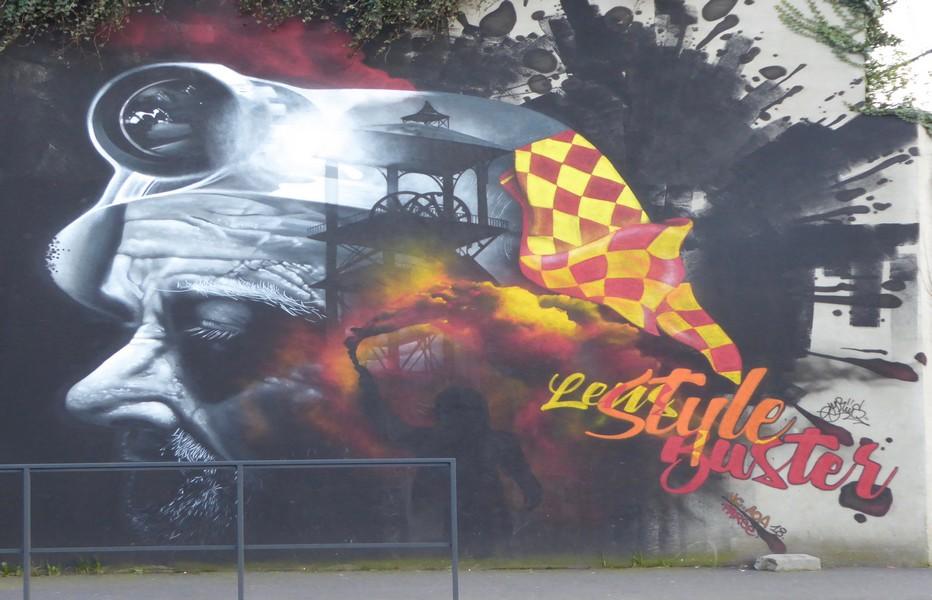 Street art à Lens rappelant la dure histoire minière. @ C.Gary