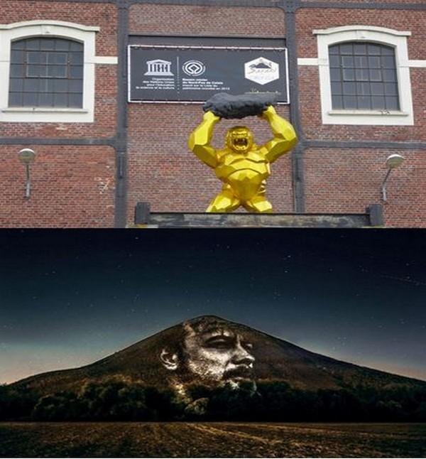 De haut en bas  : Sur les site 9-9 bis. @ C.gary ;  Conçues par l'artiste Clément Lesaffre, des projections de visages des anciens mineurs et des nouvelles générations sur les écrans noirs formés par les terrils. @ Louvre-Lens