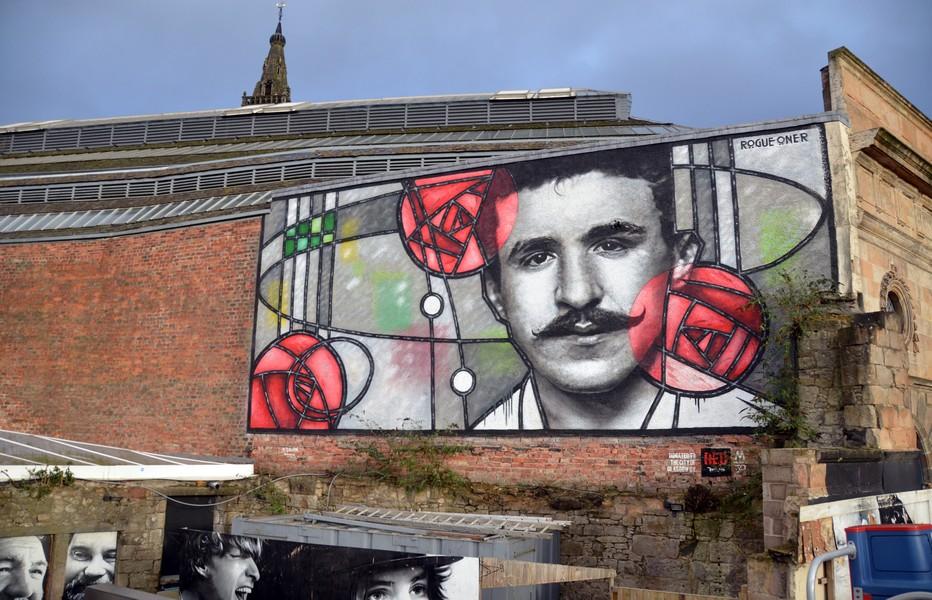 Fresque murale qui représente l'architecte Charles Rennie Mackintosh. Crédit photo David Raynal