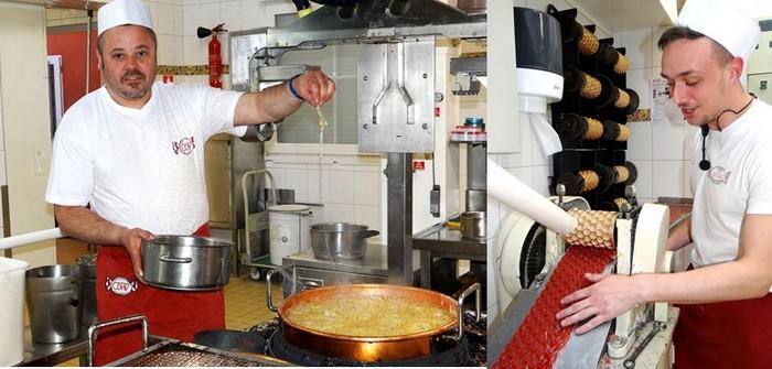 de gauche à droite : Pascal, directeur de production et artisan confiseur, présente le résultat de la cuisson au grand cassé. ©Bertrand Munier ; Le passage dans des cylindres en bronze donne la forme souhaitée au bonbon. ©Bertrand Munier