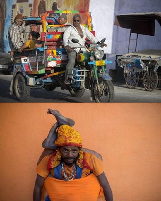 De haut en bas : Taxi collectif gujarati  et au Mont Girnar un sadhu shivaïte .©Fabrice Dimier