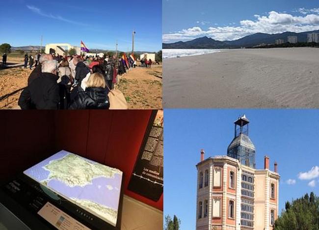 En haut de gauche à droite :- route de la Retirada - et Camp d'Argelès-sur-Mer @ DR - en bas de gauche à droite - Mémorial d'Argelès-sur-Mer et Maternité d'Elne . @ Argelès-sur-mer.com