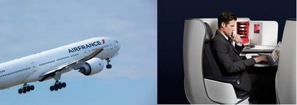 Air France se distingue de ses concurrents en proposant des cabines plus spacieuses et modernes en classe Business et Economy sur les Boeing 777/200. @ Air France et DR