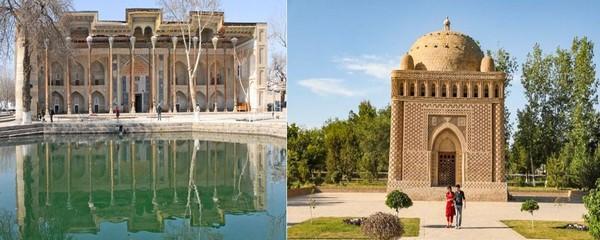 De gauche à droite :  Bassin de la mosquée aux quarante colonnes et Mosquée Bolo Khaouz à Boukhara @ F.S