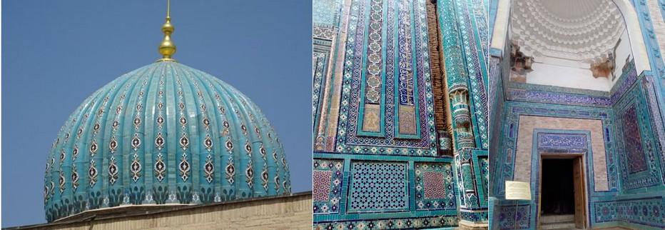 Les dômes turquoises, les mosaïques, Dans cette cité domine les nuances de bleus, la signature  architecturale en Ouzbékistan. @ H.Moreau/Wikimedia.org