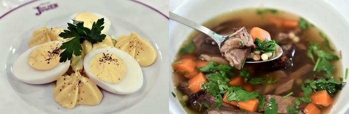 Des plats simples mais qui font recette… à l'image de l'œuf mayonnaise. ©Alexandre Marchi ; Qui dit « Bouillon » dit l'incontournable bouillon de bœuf avec sa macreuse éponyme. ©Alexandre Marchi