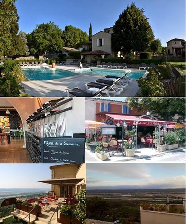 1/ Hôtel Charembeau- @ DR, 2/ L'Esperluette @ DR, 3/Auberge des Coupoles @ DR, 4/ Lurs depuis la terrasse des Terrasses de Lurs  et 5/ Les Terrasses de Lurs@ F.Surcouf.