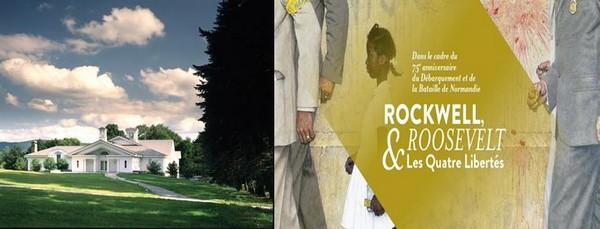 De gauche à droite : Norman Rockwell Museum à Stockbridge, et Rockwell au Memorial de Caen @ DR