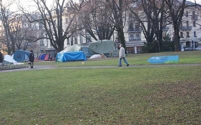les tentes des Indignés Parc des Bastions