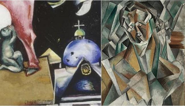 l'exposition réunit des chefs-d'œuvre de la collection du Centre Pompidou, Paris, dont Femme assise (1910) de Pablo Picasso (à droite); À la Russie, aux ânes et aux autres (1911) de Marc Chagall ; (à gauche). @ Musée Georges Pompidou