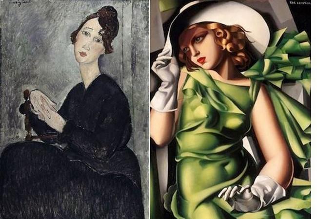 Portrait de Dédie (1918) d'Amedeo Modigliani ; Jeune Fille à la robe verte (1927) de Tamara de Lempicka.@ Musée Pompidou