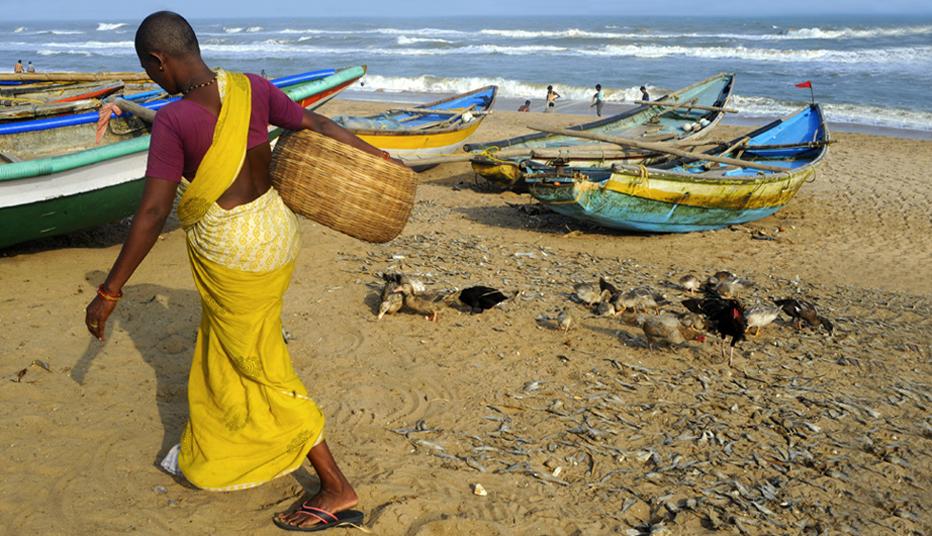 Femme au retour de la pêche dans le village de  Chandrabhaga près de Konarak