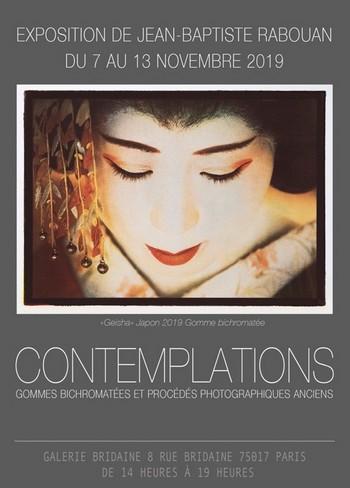« Contemplations, gommes bichromatées et procédés photographiques anciens »  du 7 au 13 novembre à la galerie Bridaine, 8 rue Bridaine 75017 Paris.