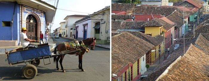 De gauche à droite :  Une rue tranquille de Léon et une rue de Granada . @ C.Gary