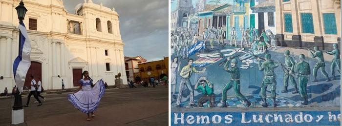 De gauche à droite :Granada La cathédrale, imposante et colorée et à Léon les fresques rappellent les combats contre Somoza @ C.Gary