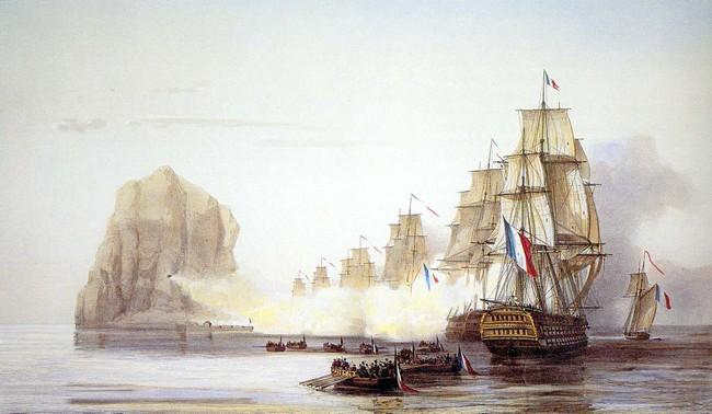 La bataille du rocher du Diamant eu lieu entre le 31 mai et le 2 juin 1805 après les tentatives infructueuses des Français de la Martinique d'en déloger les Anglais. Le vice-amiral français, Pierre de Villeneuve fut finalement autorisé à lancer un assaut sur le fier bâtiment, immobile et minéral, avec une flottille franco-espagnole.  Les Britanniques, à court de munitions, négocièrent finalement la reddition après plusieurs jours de bombardements @Bataille rocher diamant William Anderson