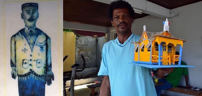 Jean-Philippe Giscon « alias Rayon », habitant de la rue Duville dans le centre de la commune du Diamant réalise des créations originales en coco, coquillages ou conques de lambis. L'une de ses œuvres reproduit en modèle réduit, la Maison du Bagnard, conçue par Médard Aribot du côté de l'anse Caffard.  Crédit photo David Raynal et D.R.