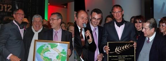 Hervé Damoiseau (à droite et au centre), petit-fils du fondateur et PDG de la marque, a reçu le 1er mars le Laurier d'Or 2012 de la Fédération Internationale du Tourisme. Il était entouré par de nombreux invités de marque, Eric Duluc, président de la fédération internationale de tourisme, Nicolas Legendre de Spiridom, l'écrivain Paul-Loup Sulitzer et le comédien Jean-Pierre Castaldi.