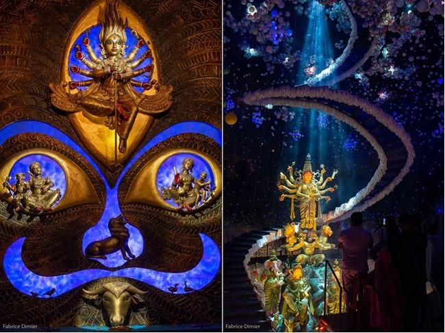 De gauche à droite :  Création originale présentant  Durga victorieuse du buffle démoniaque en compagnie de sa monture le lion et de ses quatre enfants et Trophée Emotion. Durga interstellaire. @ Fabrice Dimier