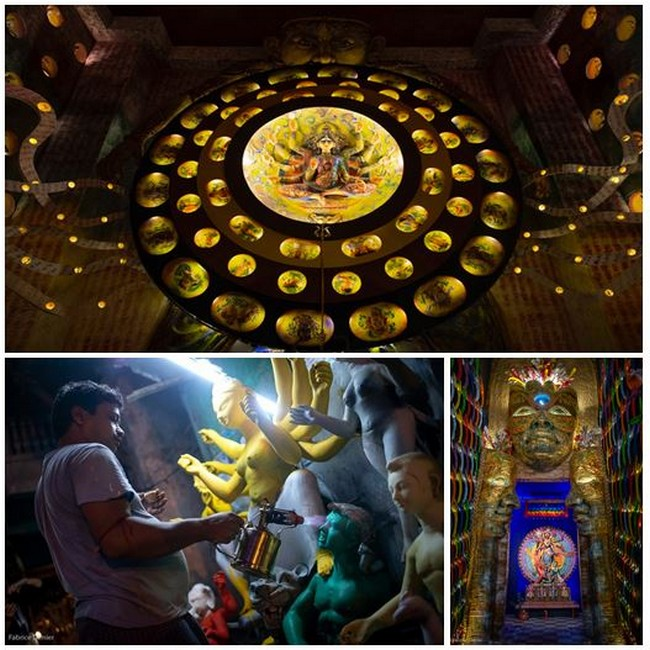 En haut :Trophée la fête de Durga; en bas de gauche à droite :Les artisans travaillent jour et nuit pour Durga Mela et Pandal au thème transgenre @ toutes les photos sont de Fabrice Dimier