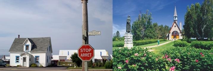 Le Nouveau-Brunswick est une province du Canada officiellement bilingue (crédit photo : David Raynal). La statue d'Evangéline à Grand-Pré en Nouvelle-Ecosse (crédit photo : CMA).