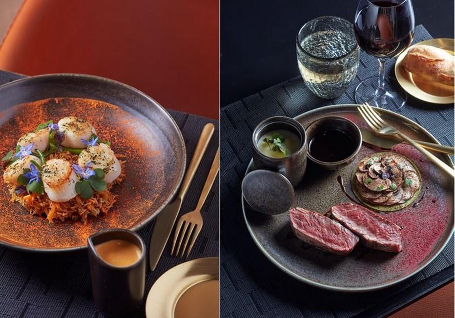 De gauche à droite :  Ceviche de Saint Jacques au gel de wakame légèrement fumé…et  Filet de black Angus, bao de cèpes, foie gras et truffes d'automne, le tout nappé d'une sauce Périgueux. @ Cinq Codet