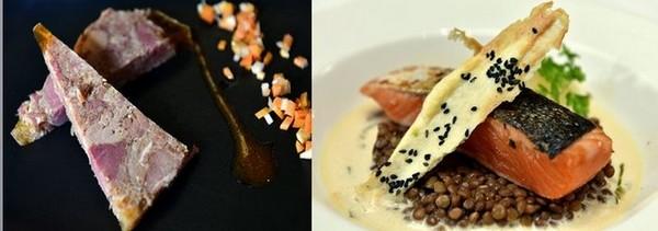 Une connotation locale avec le pressé de jambon et le pavé de saumon aux lentillons.  ©Alexandre Marchi