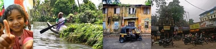 Portrait, backwater, scène de la vie quotidienne à Fort Cochin