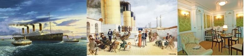 Départ (dessin J.Mignot), sur le pont 1ère Classe (copyright Beveridge), Cabine 1ère Classe